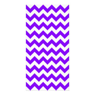 Zigzag I Small - White and Violet Photo Greeting Card