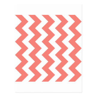 Zigzag I - White and Coral Pink Post Cards
