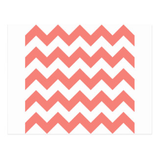 Zigzag I - White and Coral Pink Post Card