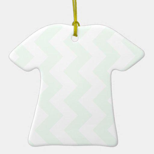 Zigzag I - White and Pastel Green Christmas Tree Ornament