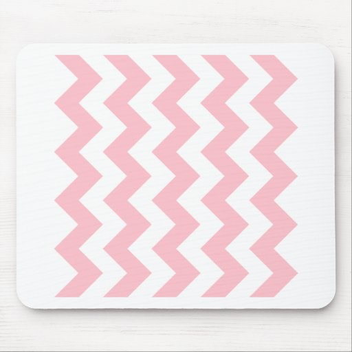 Zigzag I - White and Pink Mouse Pad