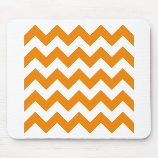 Zigzag I - White and Tangerine Mouse Pads