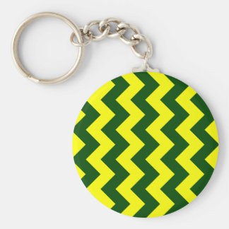 Zigzag I - Yellow and Dark Green Keychain