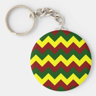 Zigzag I - Yellow, Dark Green, Dark Red Keychain