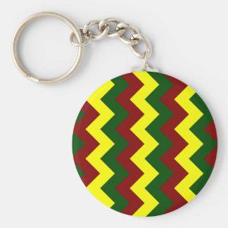Zigzag I - Yellow, Dark Green, Dark Red Keychains