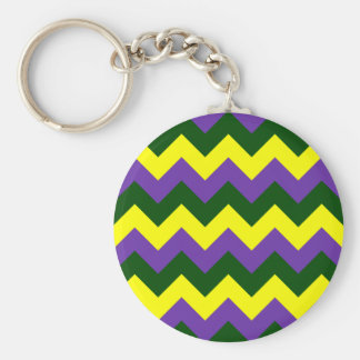 Zigzag I - Yellow, Dark Green, Violet Key Chains