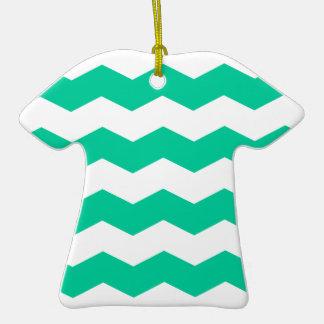 Zigzag II - White and Caribbean Green Ornament