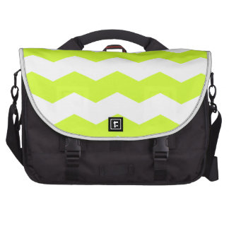 Zigzag II - White and Fluorescent Yellow Laptop Bags