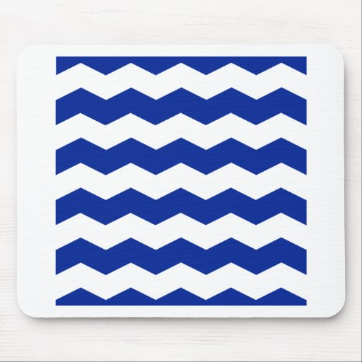 Zigzag II - White and Imperial Blue Mousepad