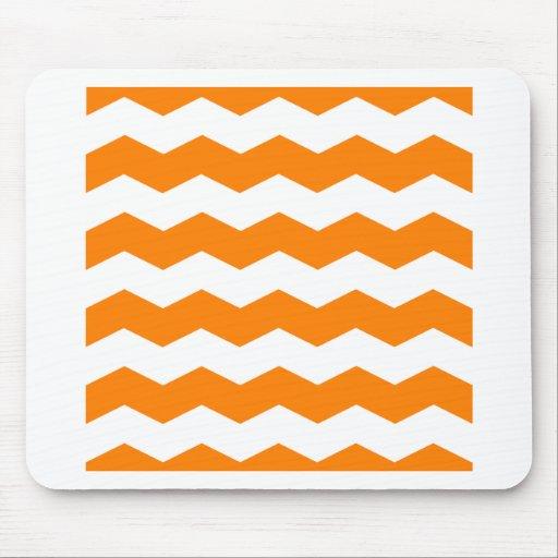 Zigzag II - White and Orange Mouse Pads
