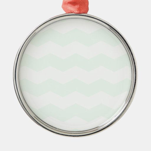 Zigzag II - White and Pastel Green Christmas Ornaments
