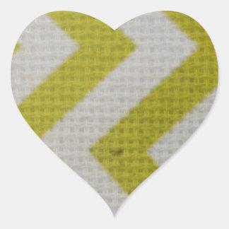zigzag mustard yellow white pattern woven elegant heart sticker