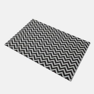 ZIGZAG pattern - black + your background & ideas Doormat