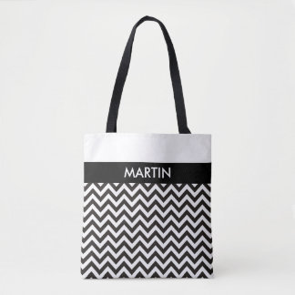 ZIGZAG pattern - black + your background & ideas Tote Bag