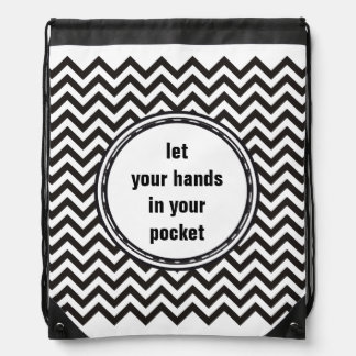 ZIGZAG pattern - black + your background & text Drawstring Bag