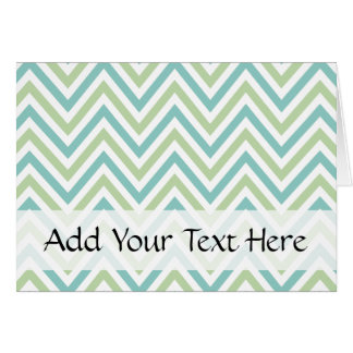 Zigzag Pattern, Chevron Pattern - Green Blue White Card