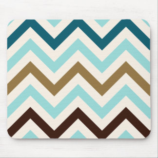 Zigzag Pattern Cream Teals Gold Brown Mouse Pad