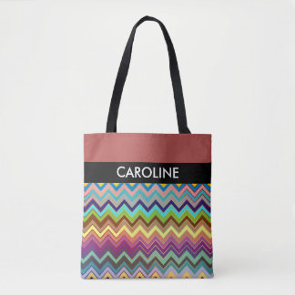 ZIGZAG pattern - multi colored + your backgr. Tote Bag