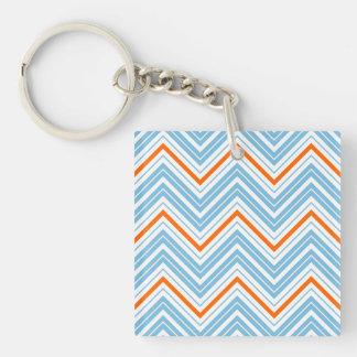 Zigzag Pattern Orange White & Blue Key Ring