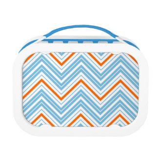 Zigzag Pattern Orange White & Blue Lunch Box