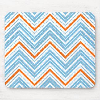 Zigzag Pattern Orange White & Blue Mouse Pad