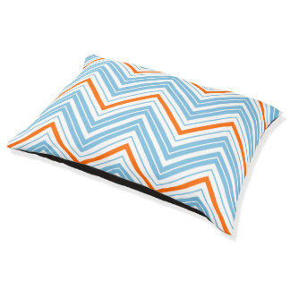 Zigzag Pattern Orange White & Blue Pet Bed