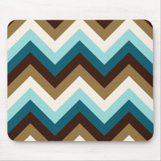 Zigzag Pattern Teals, Brown, Gold & Cream Mouse Pad