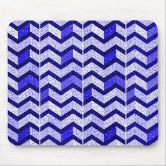 Zigzag Puzzle Pieces Design - Blue Mouse Pad