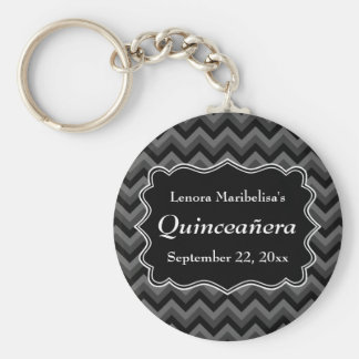 Zigzag Quinceanera Gray, Black and White Keychain