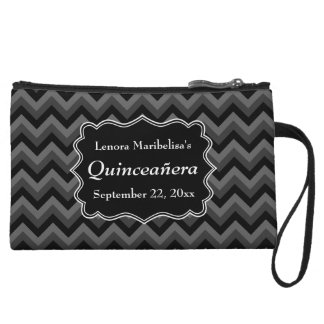 Zigzag Quinceanera Gray, Black and White Wristlet Purses