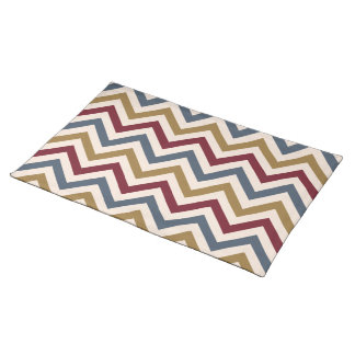 Zigzag Repeat Ptn Gold Red & Blue on Cream Placemat
