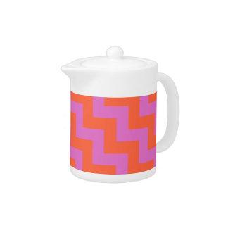 Zigzag Teapot, Magenta and Orange Chevrons