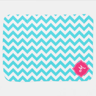 Zigzag Turquoise and Pink Custom Monogram Baby Blanket