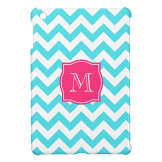 Zigzag Turquoise and Pink Custom Monogram Cover For The iPad Mini