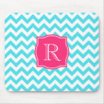 Zigzag Turquoise and Pink Custom Monogram Mouse Pads