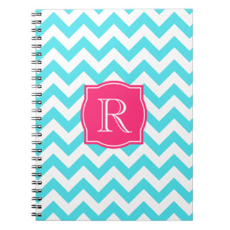 Zigzag Turquoise and Pink Custom Monogram Spiral Notebook