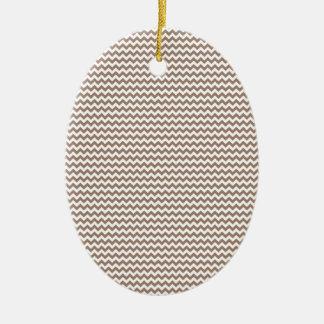 Zigzag - White and Beaver Ceramic Oval Decoration