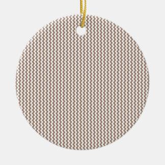 Zigzag - White and Beaver Round Ceramic Decoration