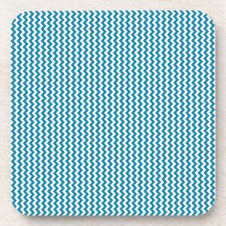Zigzag - White and Celadon Blue Drink Coaster