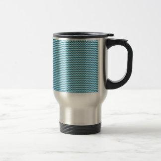Zigzag - White and Celadon Blue Coffee Mugs