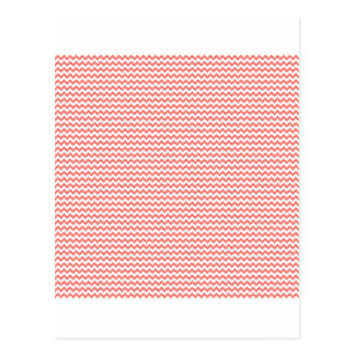 Zigzag - White and Coral Pink Post Card