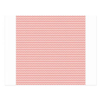 Zigzag - White and Coral Pink Postcard