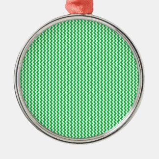 Zigzag - White and Dark Pastel Green Silver-Colored Round Decoration
