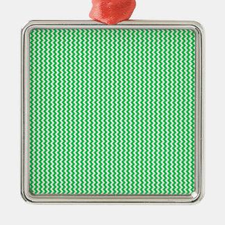 Zigzag - White and Dark Pastel Green Silver-Colored Square Decoration