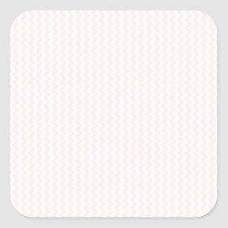Zigzag - White and Pale Pink Square Stickers