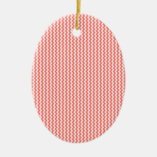 Zigzag - White and Pastel Red Ceramic Oval Decoration