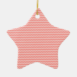 Zigzag - White and Pastel Red Ceramic Star Decoration