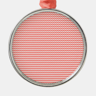 Zigzag - White and Pastel Red Silver-Colored Round Decoration