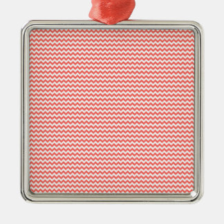 Zigzag - White and Pastel Red Silver-Colored Square Decoration
