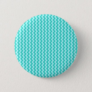 Zigzag Wide - Celeste and Turquoise 6 Cm Round Badge